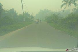 Kabut asap di Kota Jambi sangat  pekat di pagi hari
