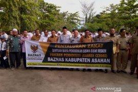 200 pelajar SD dan SMP kurang mampu terima beasiswa dari Baznas Asahan