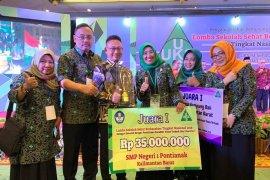 SMPN 1 Pontianak juara Lomba Sekolah Sehat Nasional