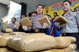 Polisi Karawang sita 80 kilogram ganja dari penangkapan empat pengedar