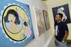 Lukisan gadis cantik hiasi pameran di Taman Budaya Kalsel