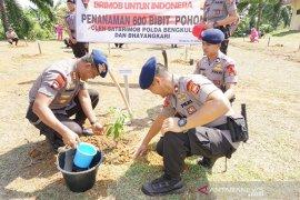 Personel Brimob Polda Bengkulu tanam 600 bibit pohon