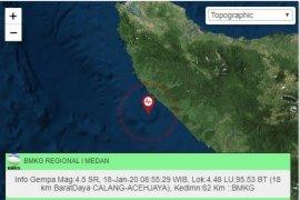 Gempa 4,5 SR di Calang terasa hingga ke Banda Aceh