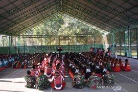 Prajurit Latihan Fisik Sebelum Tugas Operasi Perbatasan Indonesia-Papua Nugini