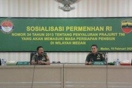 Pangdam I/BB: prajurit memasuki pensiun masih potensial mengabdikan diri