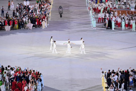 "TV Korsel minta maaf  atas  \""info negara\"" saat defile atlet Olimpiade Tokyo"