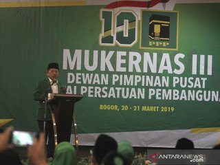 Plt  Ketua Umum PPP Suharso Monoarfa memberikan sambutan pada pembukaan Mukernas III Dewan Pimpinan Pusat PPP di Bogor, Jawa Barat, Rabu (20/3/19). Agenda utama Mukernas PPP tersebut adalah pengukuhan Suharso Monoarfa sebagai Pelaksana Tugas Ketua Umum, menggantikan posisi Romahurmuziy yang telah dipecat karena tersandung kasus korupsi. ANTARA JABAR/Yulius Satria Wijaya/agr