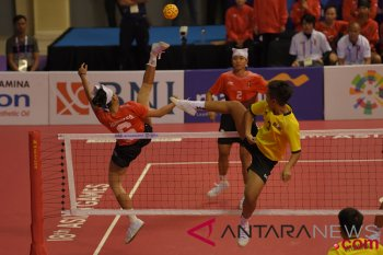 Sepak Takraw Putri Indonesia vs Myanmar