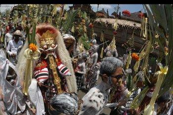 Sejumlah warga memakai riasan warna-warni berkeliling kampung saat ritual Ngerebeg di Desa Tegallalang, Gianyar, Bali, Rabu (30/1/2019). Tradisi berkeliling kampung dengan riasan tubuh yang menyerupai mahluk menyeramkan tersebut dilakukan warga setempat untuk menciptakan keharmonisan sekaligus sebagai penolak bala. ANTARA FOTO/Fikri Yusuf/nym