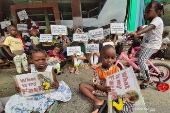 Aksi protes imigran asal Afghanistan dan Sudan di Batam