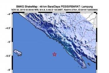Gempa berkekuatan magnitudo 4,8 di Pesisir Barat Lampung tak berpotensi tsunami