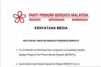 Mahathir Mohammad juga mundur sebagai Ketua Partai Bersatu