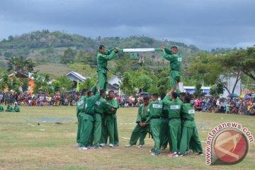 Aksi Yonif 715 di HUT Kabupaten Gorontalo Utara