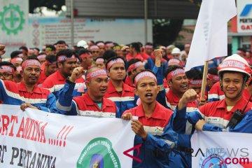 Unjuk rasa pekerja kilang minyak Pertamina Dumai
