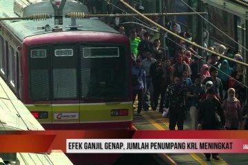 Efek ganjil genap, jumlah penumpang KRL meningkat