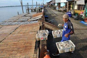 Penjualan Ikan asin di Kampung Laut Tanjabtim