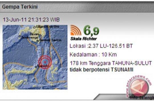 Gempa 6,9 SR Guncang Sulut