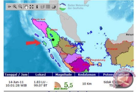 Gunung Sitoli Diguncang Gempa 5,4 SR