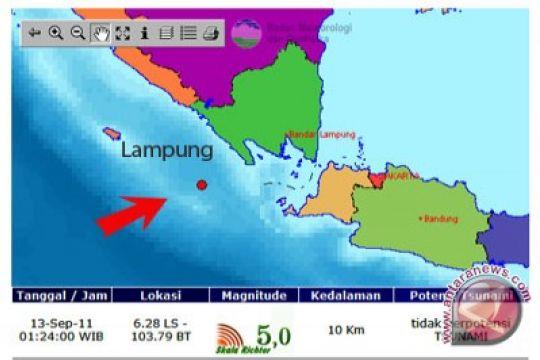 BMKG: gempa 5,0 SR guncang Tanggamus Lampung