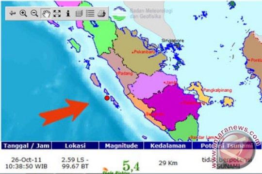 Gempa 5,1 SR guncang Kepulauan Mentawai