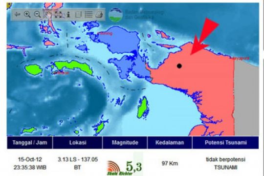 Gempa 4,6 SR guncang Nabire Papua