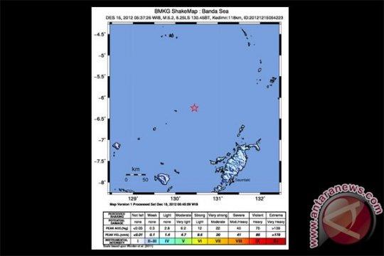 Gempa 5,2 SR guncang Laut Banda Maluku