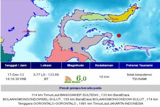 Gempa 6,0 SR guncang Banggai Kepulauan
