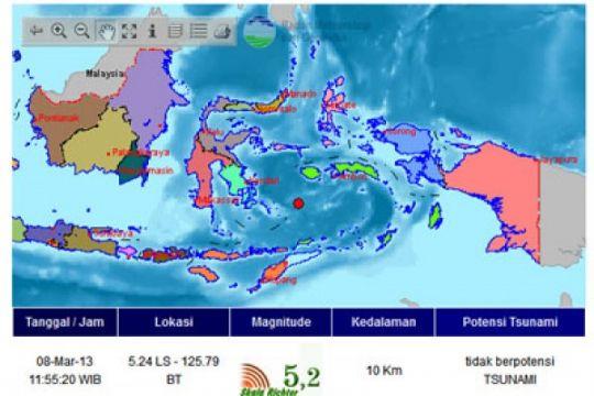 BMKG : gempa terjadi di laut Maluku dan Banda