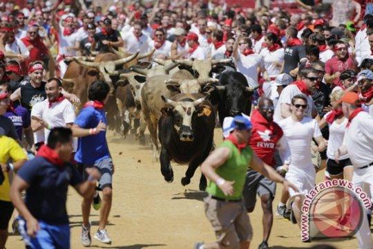 "Lima orang masuk rumah sakit akibat cedera ""lari banteng"" Pamplona"
