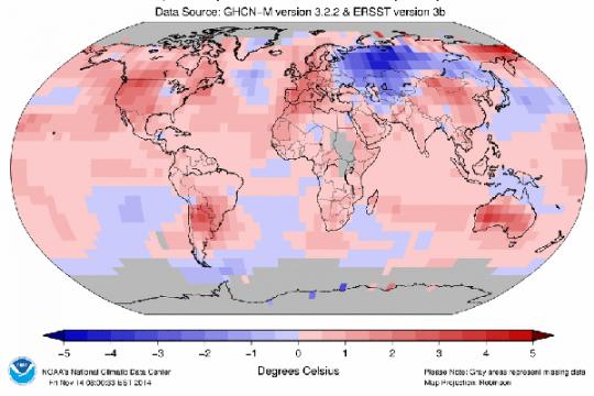 Suhu permukaan Bumi meningkat