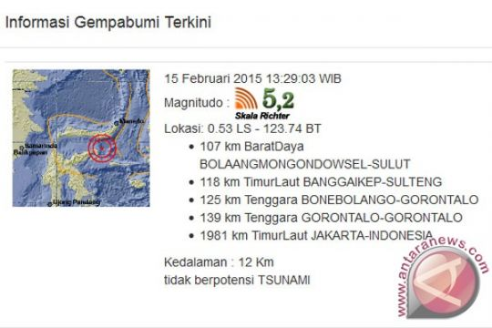 Gempa 5,2 skala richter dekat Bolaang Mongondow