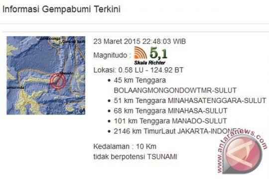 Gempa 5,1 skala Richter di perairan Sulut