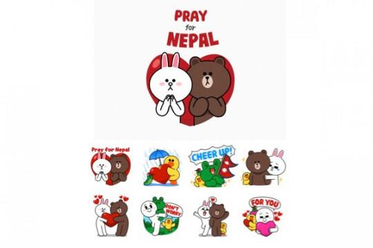 LINE jual stiker khusus untuk bantuk korban gempa Nepal