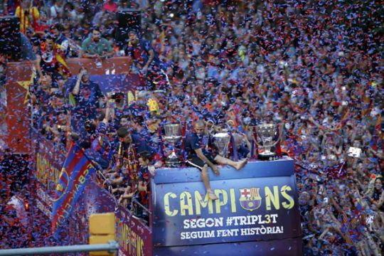 Barca didenda karena bendera pro kemerdekaan Katalan di final Liga Champions