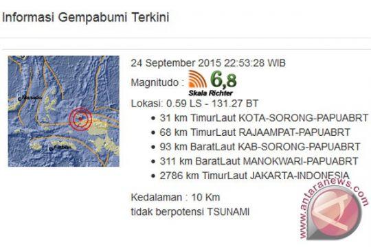 Warga Kota Sorong siaga gempa susulan