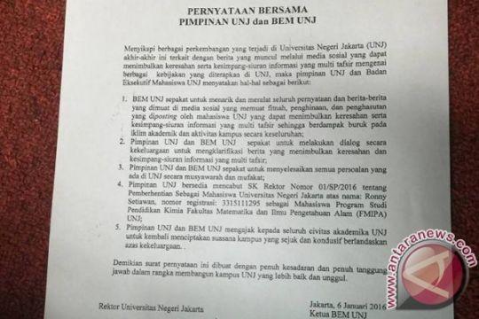 UNJ cabut SK pemecatan Ketua BEM