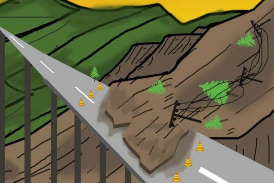Longsor tutup jalan di desa Hilir Muara