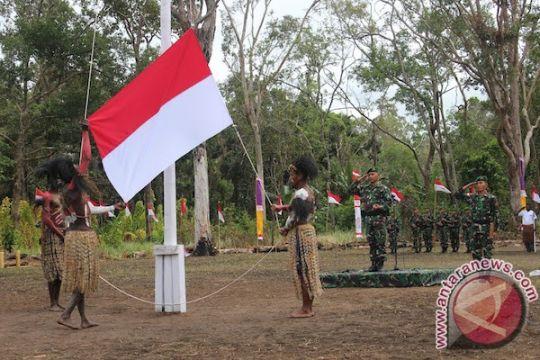 Saat Merah Putih berkibar di perbatasan Indonesia-PNG