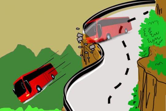 Bus pariwisata terjun ke jurang di Magetan