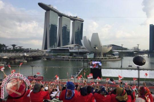 Tikungan 18 Sirkuit Marina Bay Singapura memerah