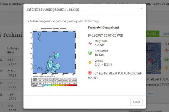 Maluku Utara diguncang gempa 5,8 SR
