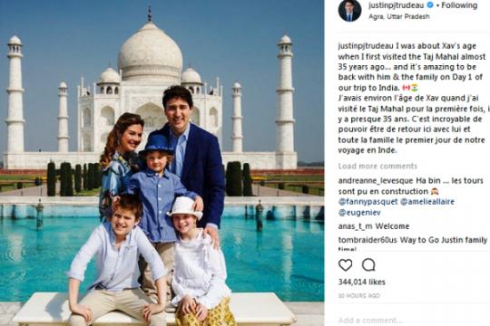 Trudeau kunjungi Taj Mahal bersama keluarga