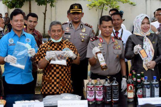 Pemusnahan miras dan narkoba Polda Sulbar