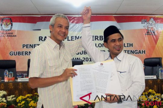 Ganjar ditetapkan sebagai calon gubernur Jateng terpilih
