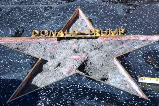 Bintang Walk of Fame Trump dirusak lagi, pelaku didenda Rp288,5 juta