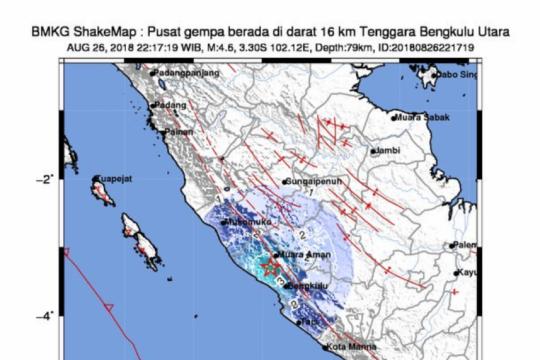 Gempa 5,4 SR guncang Kota Bengkulu