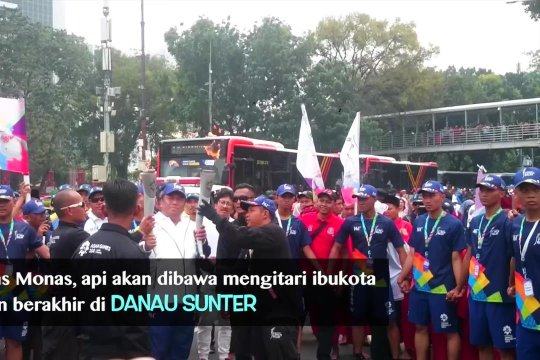 Suasana Torch Relay DKI Jakarta ruas barat daya Monas