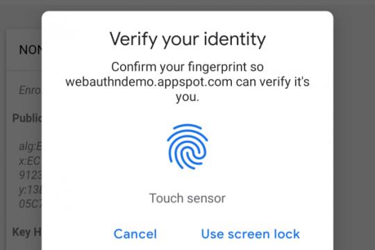Chrome adopsi autentikasi sidik jari di Android