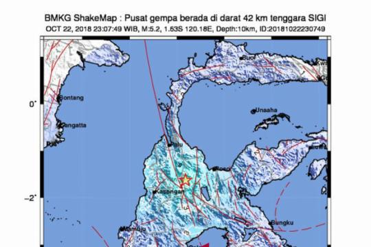 Gempa 3,3 SR guncang Sulawesi Tengah