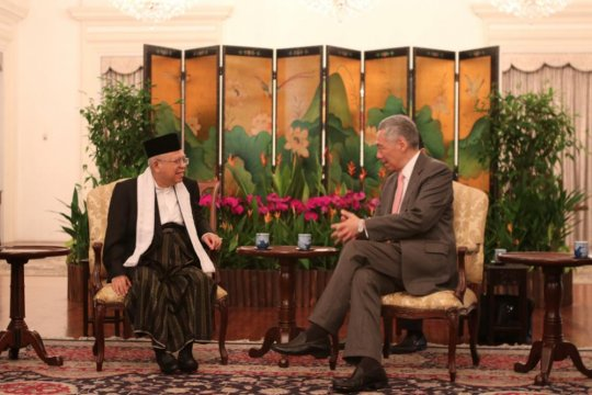 Ma'ruf Amin bertemu PM Singapura Lee Hsien Loong